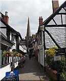 SO7137 : View east along Church Lane. Ledbury by Jaggery