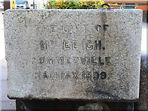 TQ3282 : Dedication on the drinking fountain and cattle trough, City Road / Central Street, EC1 by Mike Quinn