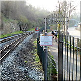 SH4862 : Cycle route alongside railway in Caernarfon by Jaggery