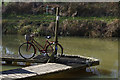 SP6481 : Bicycle and bird feeder, Welford Marina by Stephen McKay