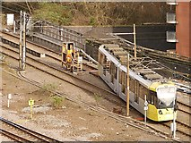 SJ8499 : Metrolink Single Line Working at Victoria by David Dixon