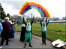 H4573 : Rainbow banner, St Patrick's Day Parade, Omagh by Kenneth  Allen
