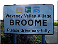 TM3592 : Broome Village Name sign on Yarmouth Road by Adrian Cable