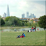 TQ3377 : A view of the City from a manmade hill, Burgess Park by Robin Stott