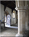 TL1381 : Steeple Gidding: St Andrew - south aisle and door by John Sutton