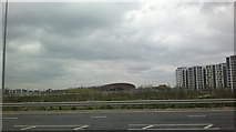 TQ3785 : View of the Velodrome from Olympic Park Avenue by Robert Lamb