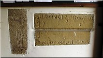 NY9371 : St. Giles Church, Chollerton - mediaeval grave slabs in porch by Mike Quinn