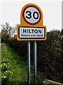 TL2866 : Hilton Village Name sign on Graveley Way by Adrian Cable