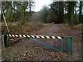 ST4294 : Usk Road barrier across a forest track into Wentwood by Jaggery