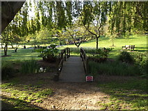 SU9850 : Bridge and Gardens near the Lake by Adrian Cable