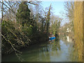 SP3165 : Blue bags forming a temporary dam, River Leam, Leamington by Robin Stott