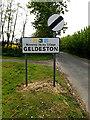 TM4092 : Geldeston Village Name sign by Adrian Cable
