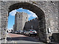 SH4762 : Caernarfon: town wall arch over Castle Ditch by Chris Downer