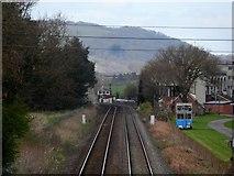 SO4977 : Railway runs alongside Ludlow Racecourse by Bikeboy