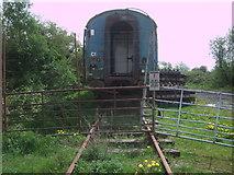 SU1091 : Disused railway carriage near South Meadow Lane by Vieve Forward