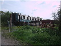 SU1091 : Disused railway carriage, South Meadow Lane by Vieve Forward