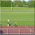 SP0469 : Father-and-son run, Abbey Stadium, Redditch by Robin Stott