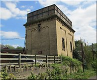 SE0641 : Water Tower on Keighley & Worth Valley Line - viewed from Low Mill Lane by Betty Longbottom