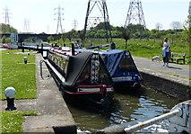 SK5702 : Two narrow boats in Freeman's Lock by Mat Fascione