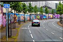 "J3274 : Belfast -"" Peace Line"" along Cupar Way between Falls & Shankill Road Areas by Suzanne Mischyshyn"