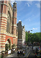 TQ2778 : Sloane Street looking south at Holy Trinity church, from the top deck of a bus by Christopher Hilton