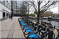 TQ3780 : Barclays bike hire, West India Docks by N Chadwick