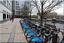 TQ3780 : Barclays bike hire, West India Docks by N Chadwick