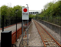 SO1707 : Stop sign at the northern end of Ebbw Vale Parkway railway station by Jaggery