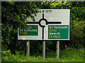 TM1378 : Roadsign on the B1077 Stuston Lane by Adrian Cable