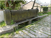 SD9321 : Cobbled weir with raised footpath, Rochdale Canal, Walsden by Linden Milner