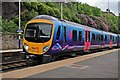 SD9702 : First TransPennine Class 185, 185128, Mossley railway station by El Pollock