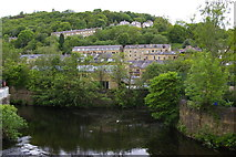SD9927 : Hebden Bridge: confluence of River Calder and Hebden Water by Christopher Hilton