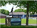 SP0768 : Entrance sign and sculpture, Army HQ and TA Centre, Winyates Way, Moons Moat, Redditch  by Robin Stott