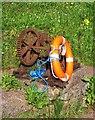 SX9267 : Cogwheel and lifebelt, Watcombe Beach by Derek Harper
