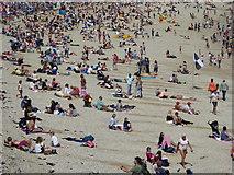 SW8031 : People on Gyllyngvase Beach Falmouth by Rod Allday