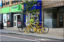 SK3587 : Yellow bikes promoting 'Le Grand Départ': Pinstone Street by Graham Hogg