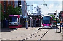 SO9198 : Midland Metro trams nos. 09 & 20 at St. Georges, Bilston Street, Wolverhampton by P L Chadwick