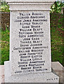 NY5377 : Names on the war memorial at The Knowe Church by Rose and Trev Clough