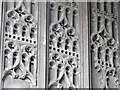 TL9924 : (Part of the) wooden door of Abbey Gate by Mike Quinn