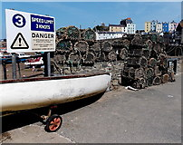 SN1300 : Fishing baskets, Tenby Harbour by Jaggery