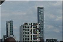 TQ3884 : View of towerblocks on Stratford High Street and Warton Road from Queen Elizabeth Olympic Park by Robert Lamb