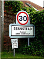 TL8448 : Stanstead Village Name sign by Adrian Cable