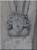 TL9925 : St. Martin's Church, West Stockwell Street, CO1 - stone head on nave pillar by Mike Quinn