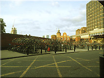 TQ3179 : Double-decker cycle parking at Waterloo by Stephen Craven