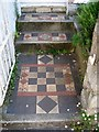 SX9373 : Tiled front path and steps, no.1 Chelsea Place, Teignmouth by Robin Stott