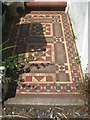 SX9373 : Tiled front path and steps, no.14 Chelsea Place, Teignmouth by Robin Stott