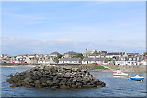 NX3343 : Breakwater at Port William Harbour by Leslie Barrie