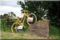SK3293 : Yellow bikes promoting 'Le Grand Départ': Grenoside boundary stone by Graham Hogg