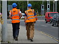 H4572 : Workmen taking a break, Omagh by Kenneth  Allen