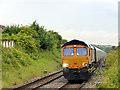 NZ4149 : Freight train passing through Seaham Railway Station by John Lucas